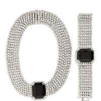 Carole Tanenbaum 1950'S Diamante Necklace With Black Cabochon And Matching Bracelet by Carole Tanenbaum - Moda Operandi