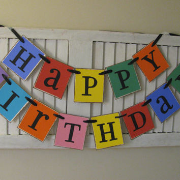 Happy Birthday Banner Colorful Birthday Garland Bunting Swag Fabulous Photo Prop Bright Bold
