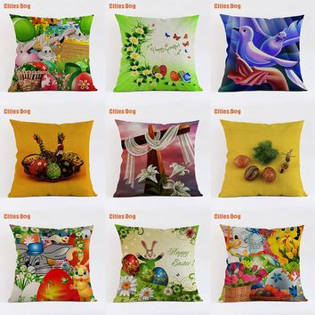 Cute colorful happy easter egg bunny decorative pillows cushion 2018 new Year gift Linen 35x35 45x45 55x55cm Pillowcase almofada