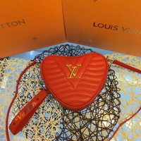 KUYOU L065 Louis Vuitton LV heart shape design cosmetic bag Mylockem BB Handbag 21-16-7cm Red