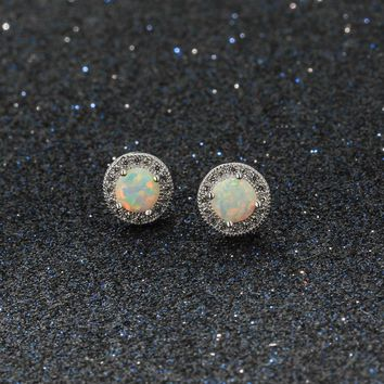 STYLEDOME Classic 925 Sterling Silver Cubic Zirconia Stud Earrings 8mm