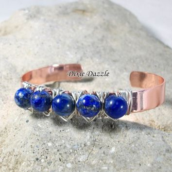 Copper cuff wire wrapped lapis lazuli bracelet. Blue lapis cuff bracelet, blue bracelet, copper bracelet, made in USA, stocking stuffer,