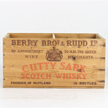 Vintage Cutty Sark Scotch Whiskey Wood Crate, Berry Bros & Rudd Ltd Crate, Whiskey Crate, Scotch Wood Crate, Liquor Wood Crate, Alcohol Box