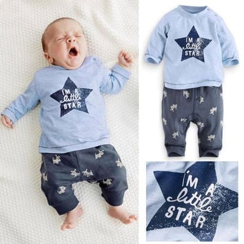 2PCS baby boys girls stars cotton clothes tops+pants outfits&set baby clothes