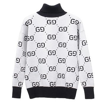 Gucci Autumn Winter Popular Women Leisure High Collar Brief Paragraph Double G Print Knit Pullover Sweater White(Grey)
