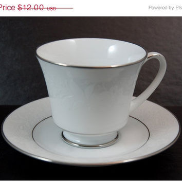 ClearanceSale Noritake Footed Teacup and Saucer - Ranier Pattern with Platinum Trim