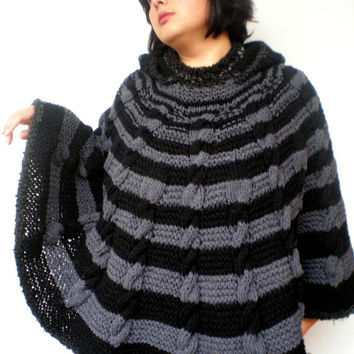 Streep Cabled Hooded  Poncho Hand Knit WomanCape Sweater Fashion Winter Poncho  NEW