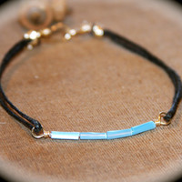 Teal Bar Bracelet, Turquoise Beaded Bar Bracelet, Waxed Thread Bracelet, Everyday Bracelet