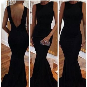 Stunning Sexy Open Backless Bodycon Slim Fit Mermaid Prom Long Gown Maxi Dress L