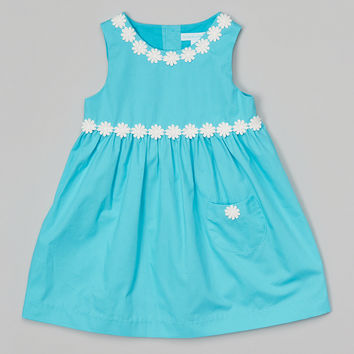 La Fleur & Le Papillon Turquoise Floral Babydoll Dress - Infant, Toddler & Girls | zulily