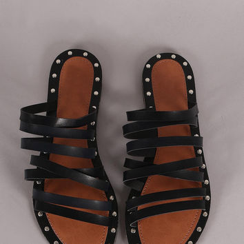 Qupid Studded Strappy Slip On Flat Sandal