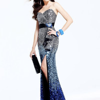 Silver & Royal Blue Ombre Sequin Strapless Sweetheart Prom Dress