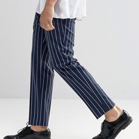 ASOS | ASOS Slim Cropped Pant In Pinstripe at ASOS