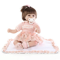 Silicone dolls 43cm children playmates Reborn Dolls baby soft toys gave the girl a gift