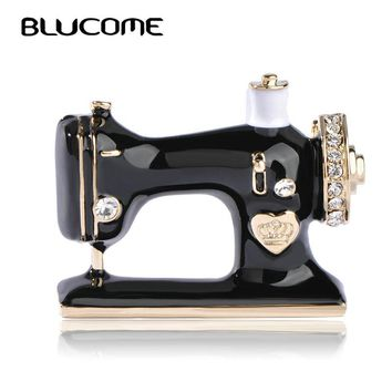 Blucome Women Girls Sewing Machine Brooch Black Enamel Brooches Jewelry Hijab Pin For Collar Suit Scarf Decoration Accessories
