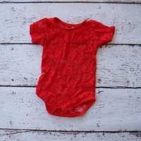 red lace body suit - red leotard - red lace shirt - lace baby one piece, red creeper , creeper, baby creeper