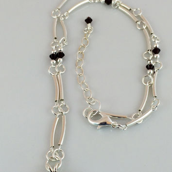 Round Faceted Rhodolite Garnet Pendant Necklace with Red Swarovski Crystals and Sterling Silver Tube Beads -- Product N093