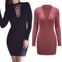 Autumn Fall Sexy Halter Lace up Kintted Sweater Dress Women Long Sleeve Short Mini Bodycon Pencil Dresses Office OL 2016 Vestido