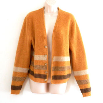 Mustard Yellow Striped Mohair Cardigan Sweater