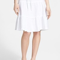 Women's Caslon Drawstring Waist Tiered Linen Skirt