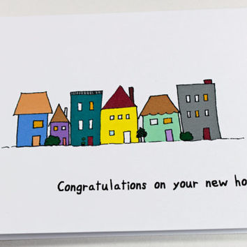 New Home Congratulations Card. Funny Housewarming Greeting. Colorful Houses. Yellow, Red, Green, Blue.
