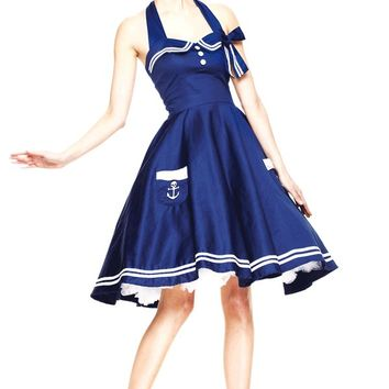 Hell Bunny – Motley 50′s Sailor Dress In Navy/White | Thirteen Vintage