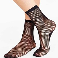 Circle Mesh Crew Sock- Black One