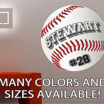 Personalized Baseball Softball Vinyl Wall Decal Sticker Custom Colors