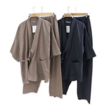 Hot sale 100% gauze cotton kimono pajamas mens simple short sleeve japanese Robe sets for male pijama hombre pyjamas Robes