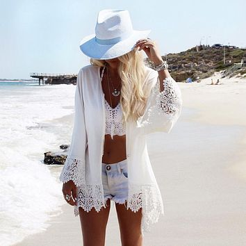2018 Beach Chiffon cover up skirt blouse bathing sexy top slim Loose white Lace beach dress Cardigan tunic pareo saida de praia