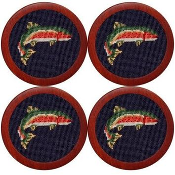 Trout  Needlepoint Coasters by Smathers & Branson