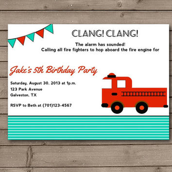 Fire Truck Boy Birthday Party Invitations