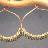 Cleopatra 107 Hammered hoops wrapped with Ivory Pearls, Green Apatite
