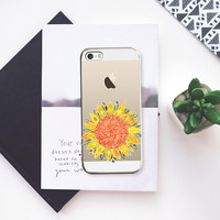 single bright sunflower transparent iPhone 5s case by Sharon Turner | Casetify