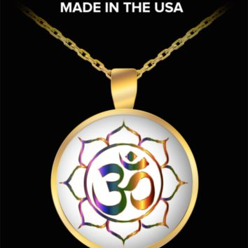 Buddha Necklace - Charm Pendant with Buddhist Sacred Sound Mantra Om - Sanscrit Buddhism Meditation