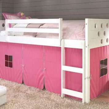 Aria White Loft Bed with Pink Tent