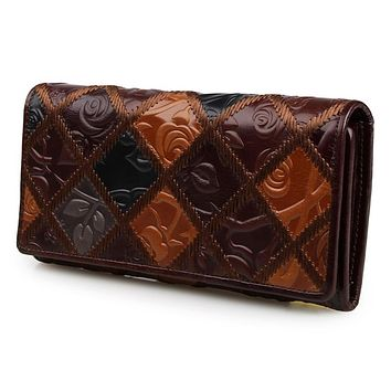2017 High Quality Wallet Vintage Luxury Frist Layer Genuine Leather Women Wallets Long Design Leather Womens Wallets and Purses