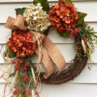 Fall door wreath, front door hanger, hydrangea wreath, Autumn wreath, Fall door decor, rustic fall wreath, orange hydrangea wreath,