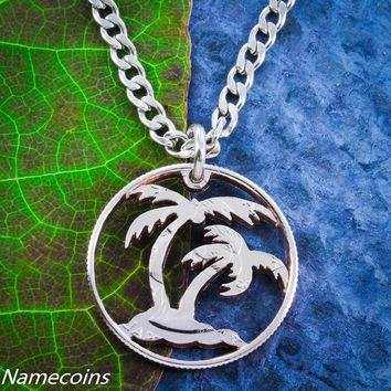 Palm Tree Necklace, Beach Jewelry, cut out thin rim quarter, hand cut coin