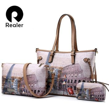 REALER brand 2017 new arrival women handbag 3 sets vintage printed tote bag large shoulder bags women messenger bag
