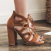 Women's Sandals Bandage High Heel Shoes Lace Up High Heels Summer Shoes