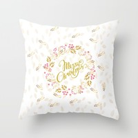 Merry Christmas Wreath Throw Pillow by Lena Photo Art