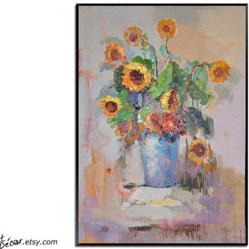 Flower Oil Painting, Sunflower Painting, Still Life Painting, Vertical Canvas Art, Bedroom Art, Living Room Art, Housewarming Gift.