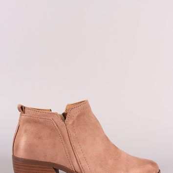 Qupid Suede Almond Toe Cowgirl Booties