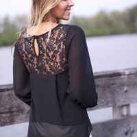 Black Chiffon Top With Lace Back