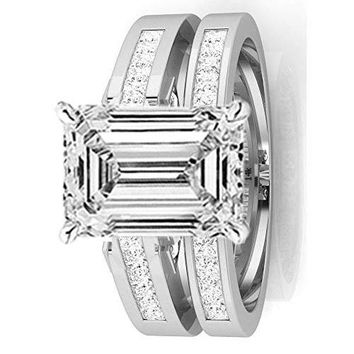 c.1.44 Ctw 14K White Gold Channel Princess Cut GIA Certified Diamond Engagement Ring Bridal Set Emerald Shape (0.94 Ct E Color VS1 Clarity Center Stone)