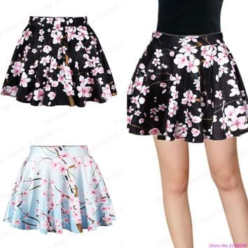 New Vintage Style Female Peach Blossom Printed MiniSkirts High Waist Pleated Ball Gown Short Tennis Skirts Clothing Sport Kilts
