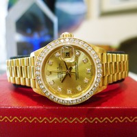 Rolex 18k Solid Yellow Gold President Diamond CROWN COLLECTION 26mm Ladies Watch