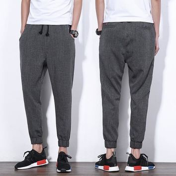 Men Casual Pants High Quality Slim Cropped Pants [10833221891]