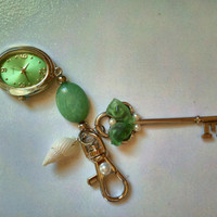 Beautiful Clip On Watch with Seaglass and Sea Shell by iHeartZena